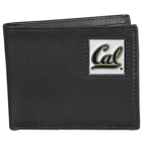 Collegiate Cal Berkeley Bears Black Leather Bi-fold Wallet in Gift Box