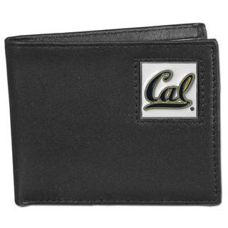 Collegiate Cal Berkeley Bears Black Leather Bi-fold Wallet in Gift Box