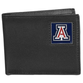 Collegiate Arizona Wildcats Black Leather Bi-fold Wallet in Gift Box
