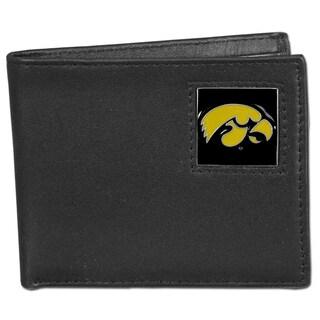 Collegiate Iowa Hawkeyes Leather Bi-fold Wallet in Gift Box