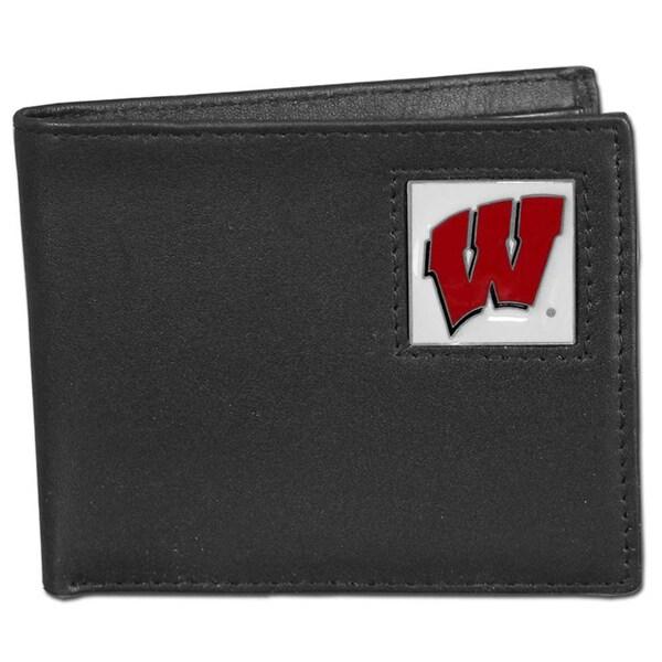 Collegiate Wisconsin Badgers Leather Bi-fold Wallet in Gift Box