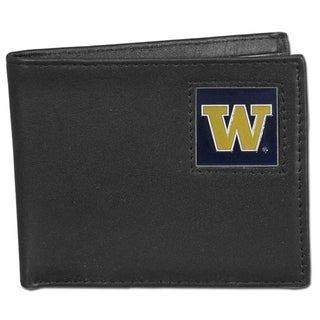 Collegiate Washington Huskies Leather Bi-fold Wallet in Gift Box