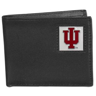 Collegiate Indiana Hoosiers Black Leather Bi-fold Wallet in Gift Box