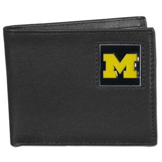 Collegiate Michigan Wolverines Leather Bi-fold Wallet in Gift Box