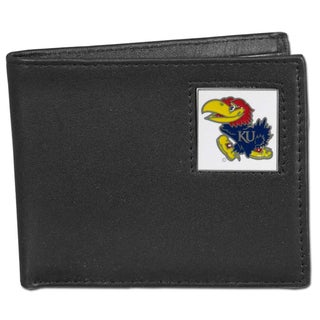 Collegiate Kansas Jayhawks Leather Bi-fold Wallet in Gift Box