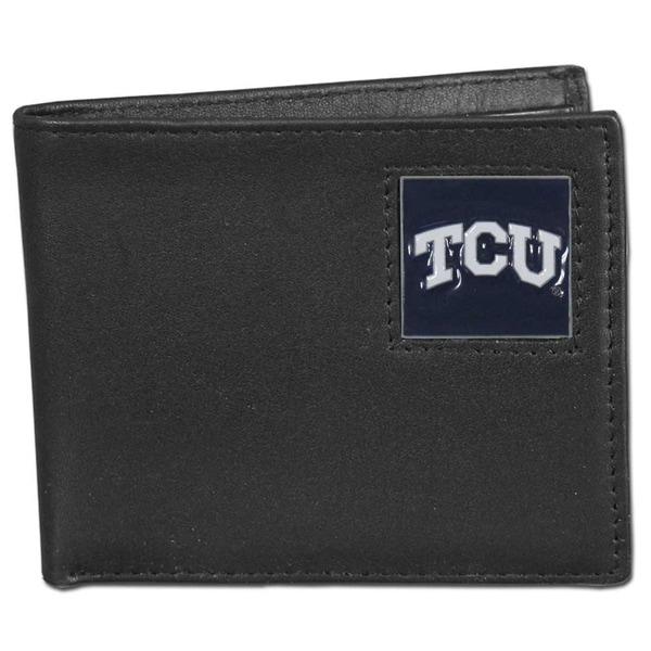 Collegiate TCU Horned Frogs Leather Bi-fold Wallet in Gift Box