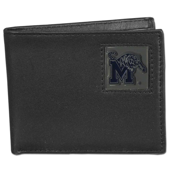 Collegiate Memphis Tigers Black Leather Bi-fold Wallet in Gift Box