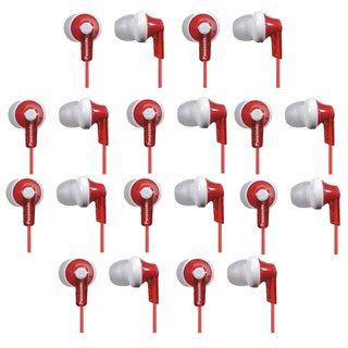 (10 PACK) Panasonic RP-HJE120-R ErgoFit In-Ear Earbud Headphones (Red)