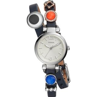 Fossil Women's ES4095SET 'Georgia' Five Wraparound Straps Charm Box Set Multi Leather Watch