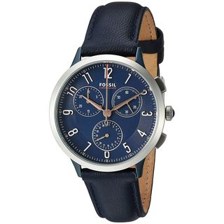 Fossil Women's CH3072 'Abilene' Multi-Function Blue Leather Watch