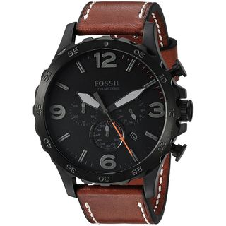 Fossil Men's JR1524 'Nate' Chronograph Brown Leather Watch