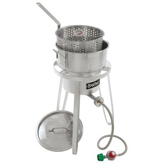 Bayou Classic Stainless Fry Pot w/ 10Psi cooker and thermometer