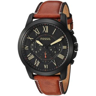 Fossil Men's FS5241 'Grant Sport' Chronograph Brown Leather Watch