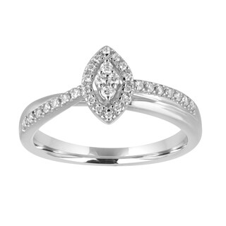 Sterling Silver 1/5ct TDW Diamond Marquise Engagement Ring - White I-J