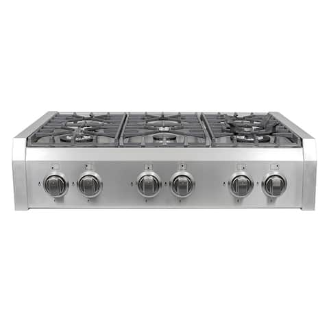 Cosmo (S9-6) 36 in. Pro-Style Gas Rangetop with 6 Burners and Removable Wok Accessory in Stainless Steel