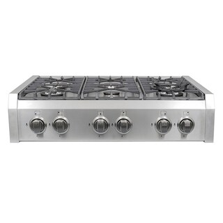 Cosmo (S9-6) 36 in. Pro-Style Gas Rangetop with 6 Burners, with Removable Griddle and Wok Accessories in Stainless Steel