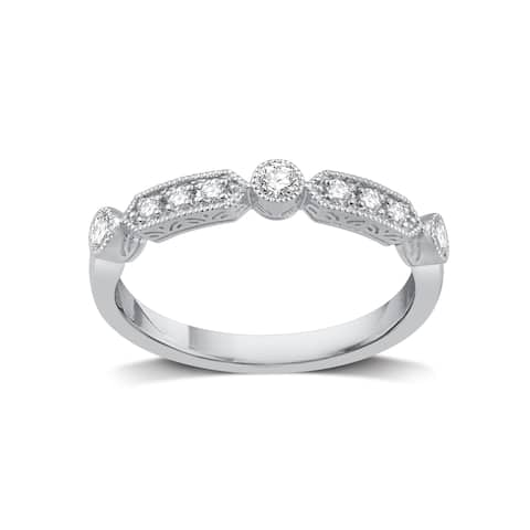 Sterling Silver 1/5ct TDW Diamond Stackable Wedding Band - White I-J