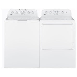 GE Laundry Pair with 7.2-cubic Feet Capacity Aluminized Alloy Drum Gas Dryer and 4.2-cubic Feet Capa