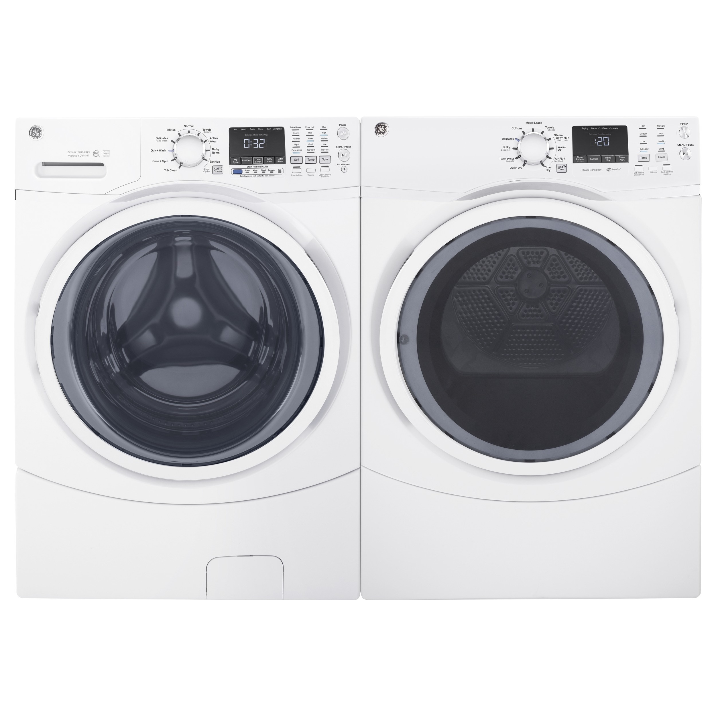 GE Steam Laundry Pair with 7.5-cubic Feet Capacity Front ...
