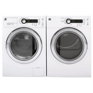 GE Front-Loading Washer and Electric Dryer Set in White
