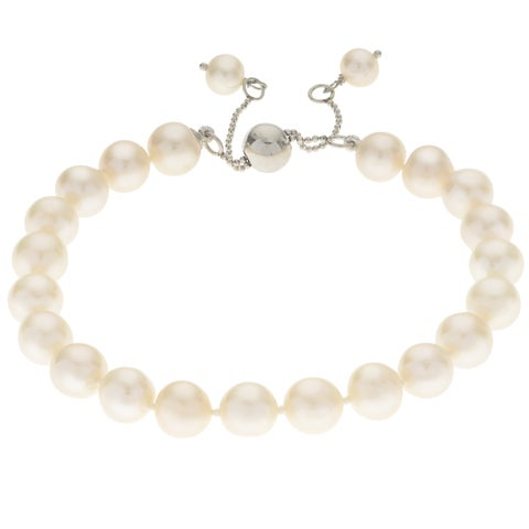 Pearls For You Sterling Silver Adjustable Freshwater Pearl Bracelet (8.5-9.5 mm)