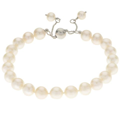 Pearls For You Sterling Silver Adjustable Freshwater Pearl Bracelet (8.5-9.5 mm)