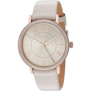 DKNY Women's NY2545 'Willoughby' Crystal Grey Leather Watch