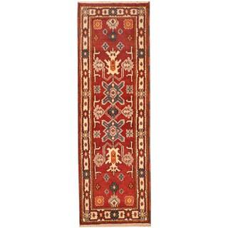 Herat Oriental Indo Hand-knotted Tribal Kazak Wool Rug (2'2 x 6'11)