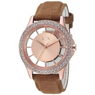 Armani Exchange Women's AX5254 'Smart' Crystal Brown Leather Watch