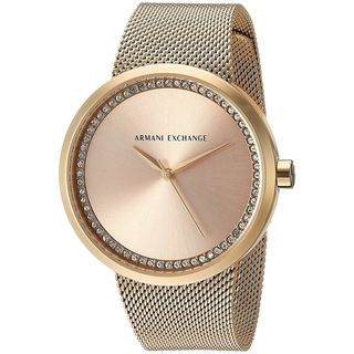 Armani Exchange Women's AX4502 'Street' Crystal Gold-Tone Stainless Steel Watch