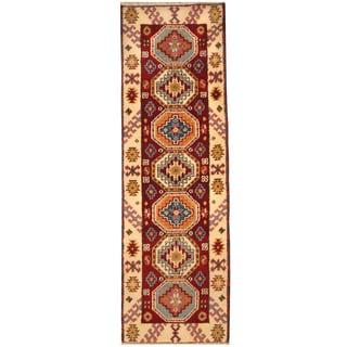 Herat Oriental Indo Hand-knotted Tribal Kazak Wool Rug (2'1 x 6'9)
