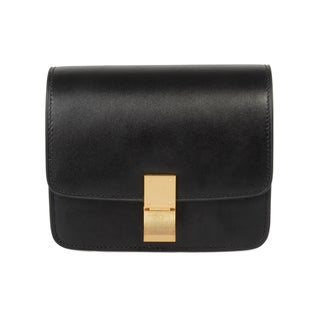 Celine Box Black Calfskin with Gold Hardware Mini Shoulder Handbag Small Size(As Is Item)