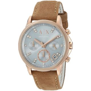 Armani Exchange Women's AX4338 'Active' Chronograph Crystal Brown Leather Watch