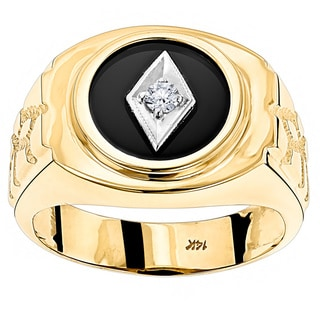 Luxurman 14k Gold Men's Black Onyx and 1/10ct TDW Diamond Ring (H-I, SI1-SI2)