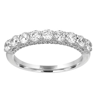 14K White Gold 1ct TDW Diamond 9-Stone Wedding Band (H-I, I1-I2)