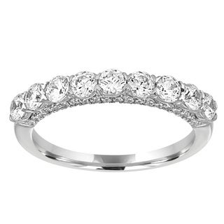 14K White Gold 1ct TDW Diamond 9-Stone Wedding Band - White I-J