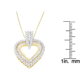 10k Yellow Gold 1ct TDW Round and Baguette-cut Diamond Heart Pendant (H-I, I2-I3)