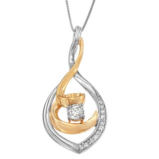 Espira 10K Two-Tone Gold 1/4 ct. TDW Round Cut Diamond Spiral Link Pendant Necklace (H-I, I2-I3)