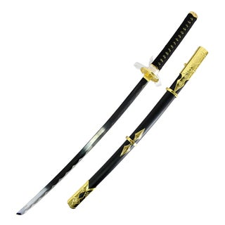 Defender Carbon Steel 38-inch Samurai Sword with Dull Blade and Black/Gold Emblem Scabbard
