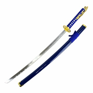 Defender 38-inch Carbon Steel Dull Blade Samurai Sword with Blue Fabric-wrapped Scabbard