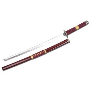 Defender Foam Red and Gold Handle 39-inch Samurai Sword With Wood Scabbard