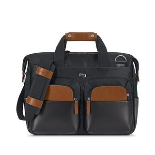 Solo Hamptons Black Vinyl 15.6-inch Laptop Briefcase