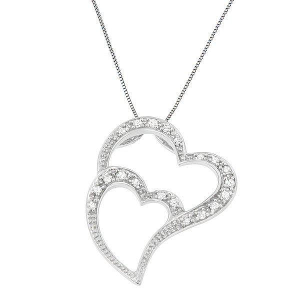 dd7c605a5f 14K White Gold 1/5 ct. TDW Round Cut Diamond Overlapping Heart Pendant  Necklace