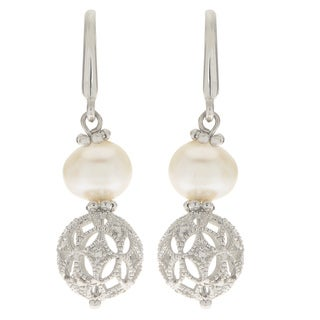 Pearls For You White Freshwater Pearl and Sterling Silver Filigree Bead Earrings (6-6.5 mm)