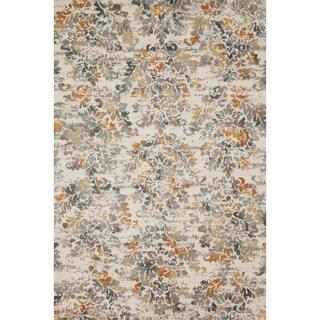 "Microfiber Transitional Grey/ Rust Floral Damask Rug - 9'3"" x 13'"