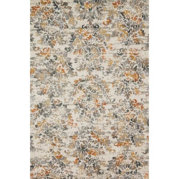 Floral Damask Area Rug: Shop Microfiber Transitional Grey/ Rust Floral Damask Rug