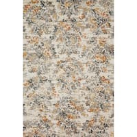 Microfiber Transitional Grey/ Rust Floral Damask Rug - 9'3 x 13'