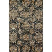 Microfiber Transitional Charcoal/ Taupe Floral Rug - 9'3 x 13'
