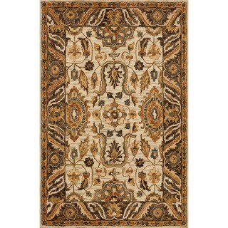 """Hand-hooked Taupe/ Beige Traditional Floral Wool Area Rug - 9'3"""" x 13'"""