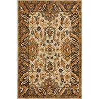 Hand-hooked Taupe/ Beige Traditional Floral Wool Area Rug - 9'3 x 13'